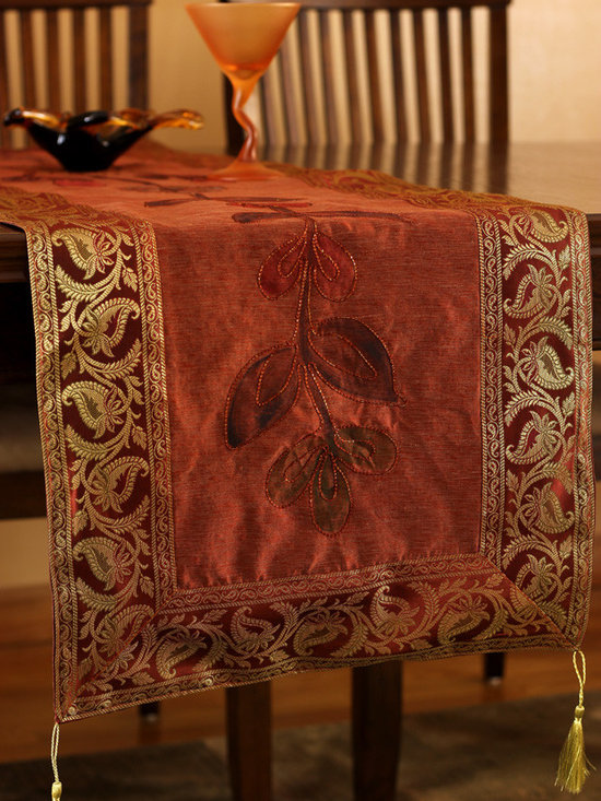"""Elegant Table Runners - Ideal for the Halloween party & Fall season """"Hand Painted"""" table runner. Rustic Orange color. Decorative Indian design."""