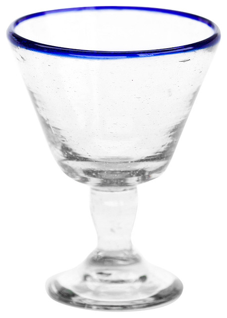 Sobremesa by Greenheart Blue Wine Glasses, Set of 4 contemporary-everyday-glasses