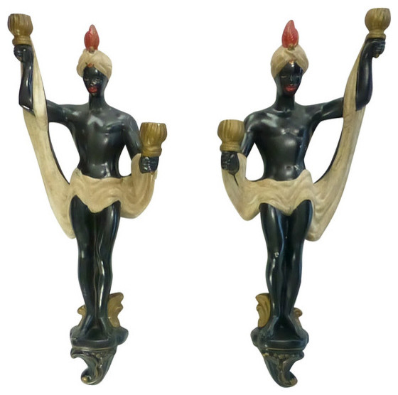 Blackamoor Wall Sconces : Consigned Vintage Blackamoor Chalkware Sconces, Pair - Eclectic - Wall Sconces - by Moore About ...