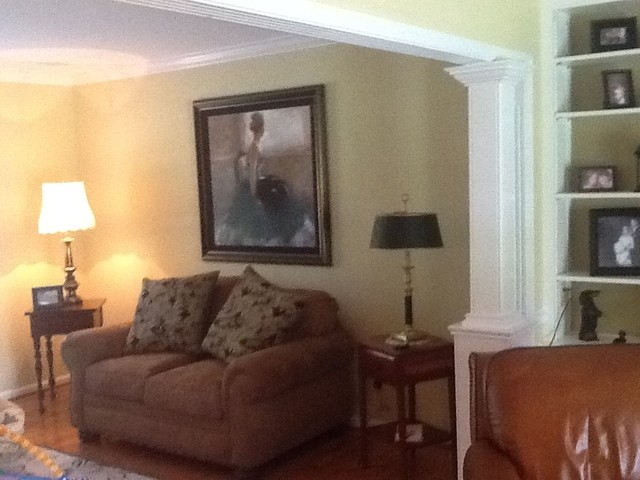 Wall removal between formal living room and family room in - Family pictures on living room wall ...