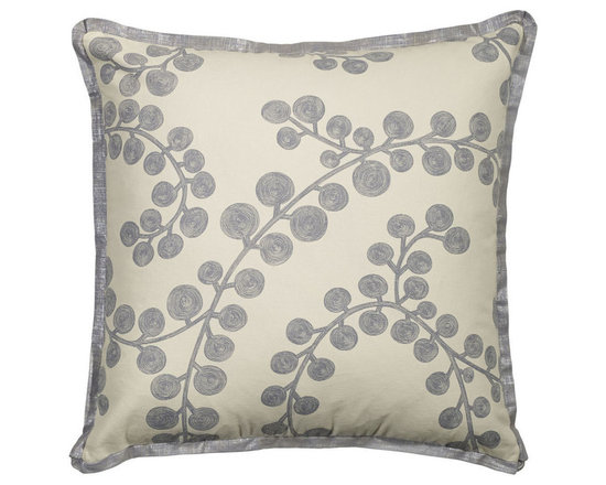 """Mystic Valley Traders Radiance Steel - Euro Sham A - The Radiance Steel Euro sham is fashioned from the Bough Blue fabric on each side, and finished with a Glimmer Steel flower flange; sold flat (without fills); 26""""x26""""."""
