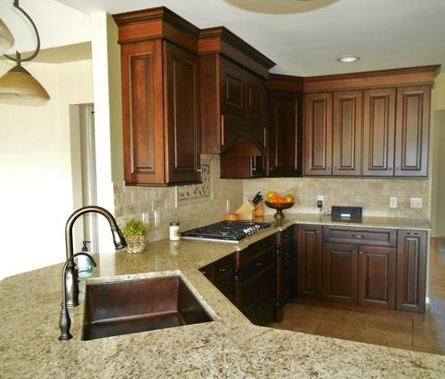 Kitchen Countertop And Backsplash Combinations: Warmth Welcoming: Giallo Ornamental Granite Countertop