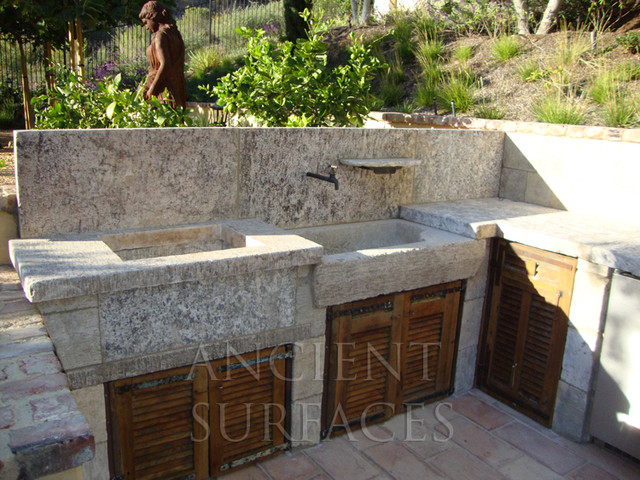French country limestone sink outdoor bbq kitchen sink 39 al for Country outdoor kitchen