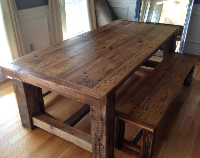 Reclaimed wood extension table for Reclaimed dining room table