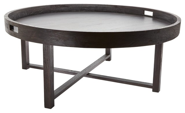 784059 Round Black Teak Coffee Table Tray Contemporary Coffee Tables