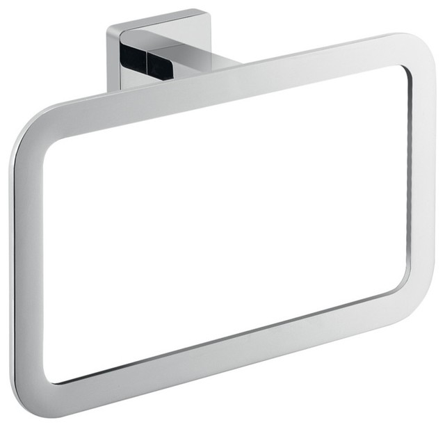 Square Wall Mounted Polished Chrome Towel Ring - Contemporary - Towel Rings - by TheBathOutlet