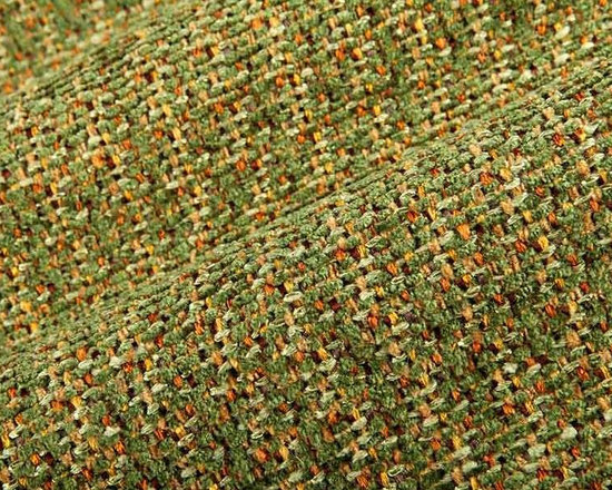 Rustic Weave Upholstery Fabric in Forest - Rustic Weave Upholstery Fabric in Forest is a green chunky, tweed like weave with orange and light green yarns woven throughout creating a dimensional look perfect for country or cabin interior designs. This textured fabric has a hearty hand that is perfect for upholstering sofas, chairs, and ottomans. American made from a blend of 78% rayon and 22% cotton with an acrylic backing. This fabric passes 15,000 Martindale double rubs and CB117 fire rating. Cleaning code: S. Width: 54″