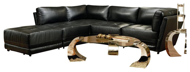 Coaster Kayson Contemporary Leather 5 Piece Sectional Sofa in Black transitional-sectional-sofas