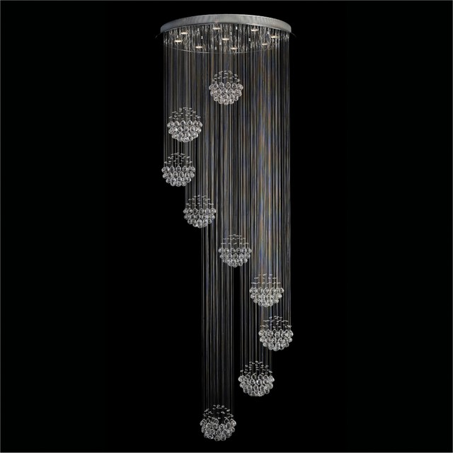 Contemporary Clear Crystal Spheres 9-Light Chandelier contemporary chandeliers