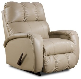 Bentley Bonded Leather Recliner in Creme modern-accent-chairs
