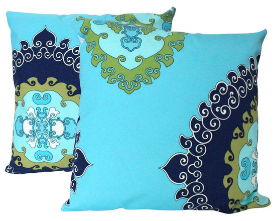 The Pillow Studio - Two Outdoor Super Paradise Print in Blue - Schumacher Pillow Covers - I love this outdoor fabric by Trina Turk and its adds a bit of fun when the pattern is placed off center... makes me think of summer
