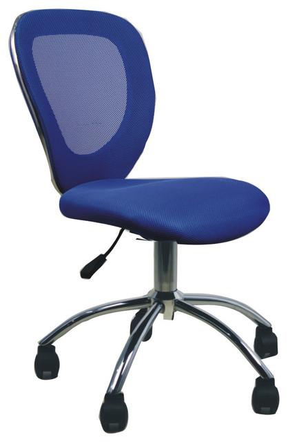 Blue mesh back task office chair with tilt control modern office