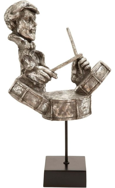 Musician Statue with Silver Oxidized Finish traditional-garden-statues-and-yard-art