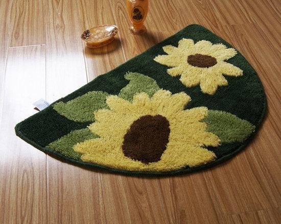 Semi-circle Yellow Sunflower Non-slip Rug Bath Mat -