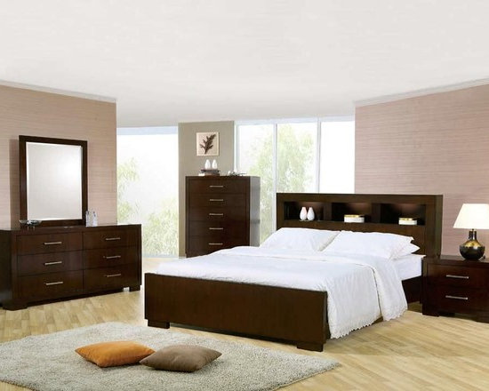 Bedrooms Furniture - Contemporary Cappuccino Master Bedroom Set