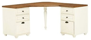 Whitney Corner Desk Set, 1 Desktop & 2 3-Drawer File Cabinet, Almond White with - Traditional ...