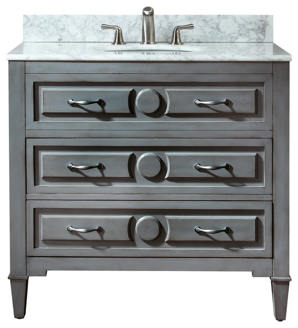 Kelly Vanity Combo, Gala Beige Marble Top - Contemporary ...