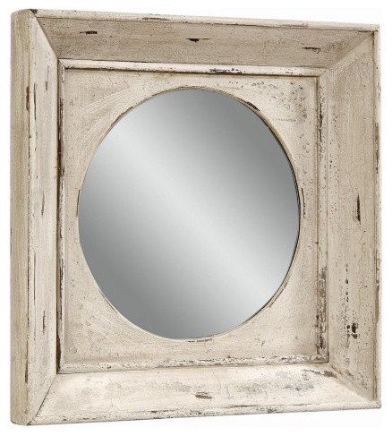 Vintage Weathered White Finish Mirror - 27W x 27H in. traditional-mirrors