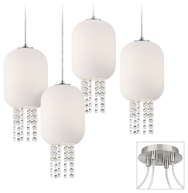 Opal and Crystal Brushed Nickel 4-Light Multi Pendant contemporary-chandeliers