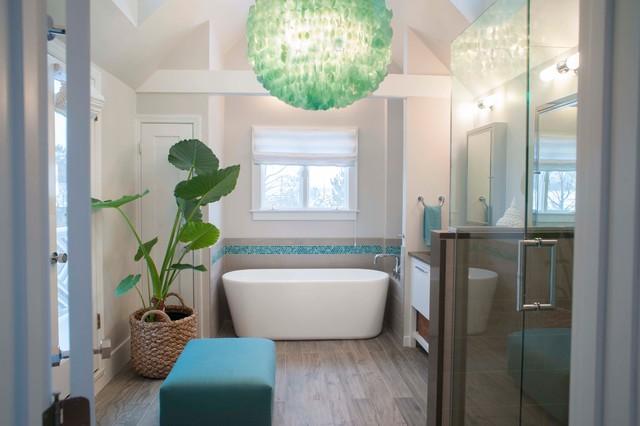 Beach house coastal style master bathroom beach style for Beach house master bathroom
