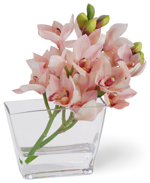 Cymbidium Orchid Flower Arrangement, Pink traditional-artificial-flowers-plants-and-trees