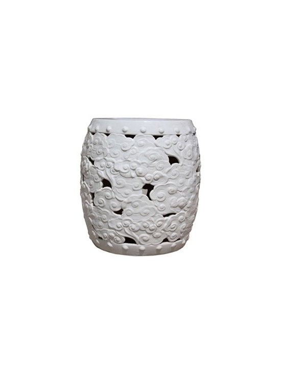 """White Clouds Garden Stool - With its organic round shape and stunningly intricate """"cloud"""" design, this neutral garden stool would be right at home in both a traditional or contemporary room. We love how this piece is substantial enough to anchor a room but still looks elegant and refined. Try using this larger scale stool as a fun accent in a corner or as an unexpected side table."""