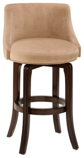 Hillsdale 25-Inch Napa Valley Swivel Counter Stool - Khaki Fabric Seat traditional-bar-stools-and-counter-stools