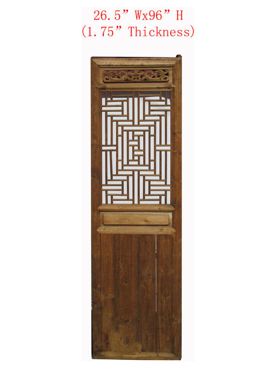 Tall Chinese Antique Geometric Dragon Carving Screen Wall Panel - This is Chinese antique door panels which is made of solid elm wood. It was used as door long time ago at China, right now, people uses it for wall screen deco. Those panels come very detail dragons hand carving on it.
