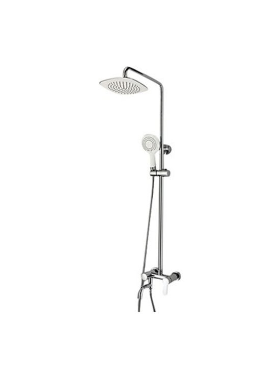 Shower Faucets - Contemporary Single Handle Adjustable Height Chrome Shower Faucet