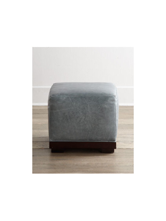 Horchow - Charco Leather Ottoman - Versatile, stylish cube ottoman in beautiful slate-blue leather sits on a dark wood base to bring distinguished good looks to any room. Group several together as a coffee table alternative, use it as additional pull-up seating, or just enjoy it as a dec...