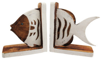 Distressed Finish Brown and White Wooden Fish Bookends tropical-bookends