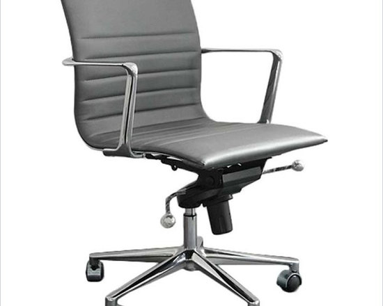 Eurostyle Kyler Low Back Office Chair - Kyler Low Back Office Chair is a versatile and comfort designed office chair, which has leather upholsterted seat and back. This low back office chair has chromed aluminum frame and base with tilt mechanism.