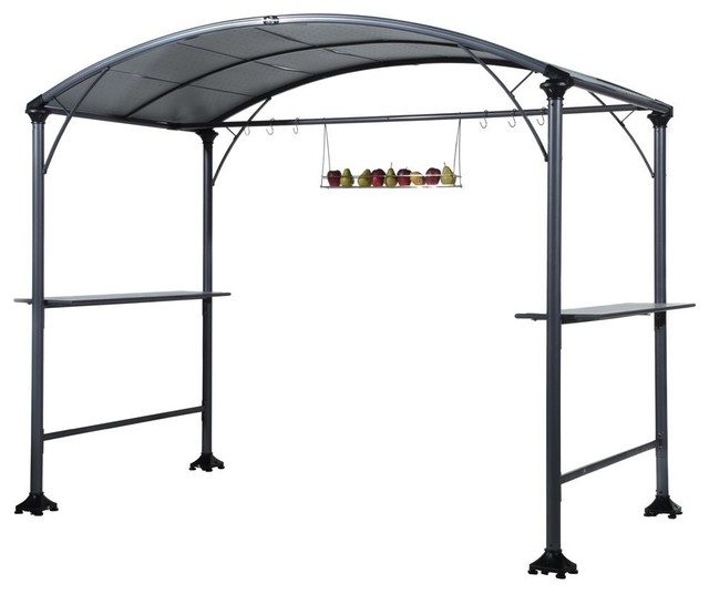 Abba patio outdoor bbq grill gazebo with steel frame and roofs 9 x 5 ft modern gazebos by - Gazebo get upcoming barbecues ...