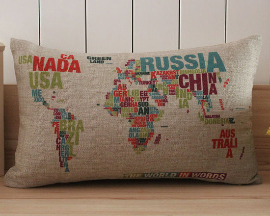 Pillow with Colorful World Map Printing by Pillow Depot Plus -