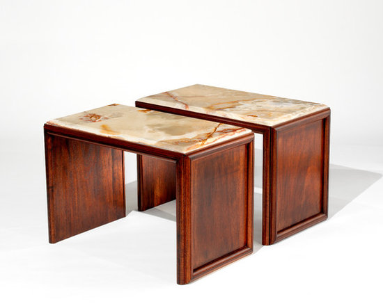Mark Bunching Tables - Art | Harrison Collection - Clean lined mahogany tables with onyx tops.