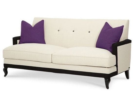 AICO Furniture - After Eight Cream/Purple Contemporary 3 Seat Sofa - 19815-CRPUR - After Eight Collection Sofa