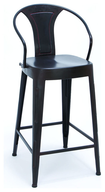 Sleek Black Color Bar Chair With Comfort Arm Rests