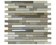 W10 Grey Smoke Quartzstone Brick Glass Mosaic contemporary-tile