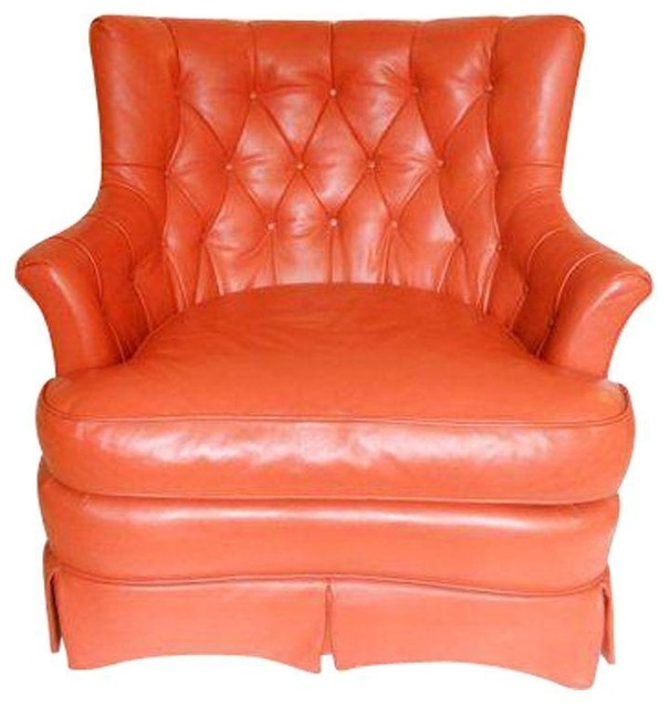Pre Owned Tomlinson Mid Century Orange Leather Lounge Chair Midcentury Ar