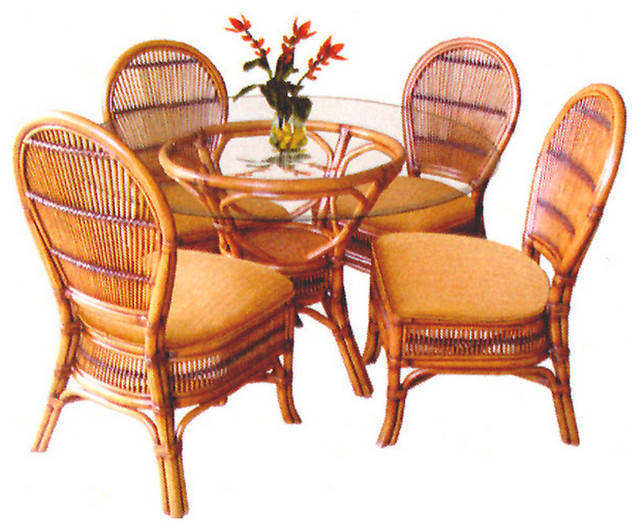 tropical safari 6 pc rattan and wicker dining set tropical dining