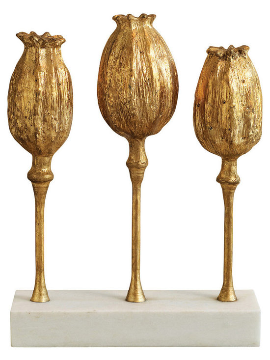 Poppy Pod Sculpture Trio - Gold - Three plump pods of poppy flowers on thin stems, each modeled differently for a naturalistic, organic result, makes the Poppy Pod Sculpture Trio in rich old gold a perfect background to a botanical display or a striking, eclectic addition to transitional Asian decor. Dramatic size and a subtle, neutral white base make this sculpture ideal for use in museum-style arrangements in your architectural nooks.