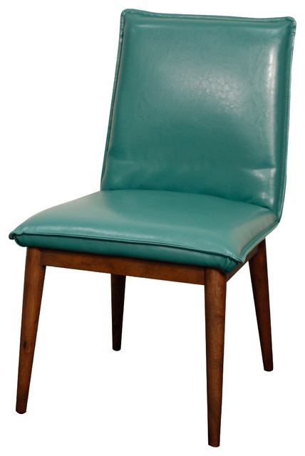 lara bonded leather chair turquoise midcentury dining chairs by