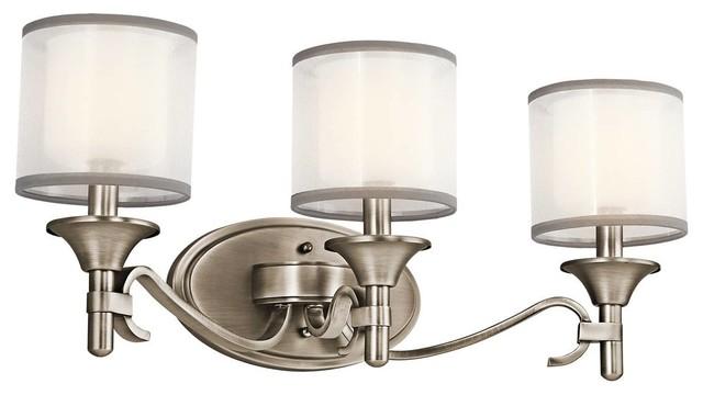 Wonderful  Lighting 3Light Berwick Brushed Nickel Transitional Vanity Light