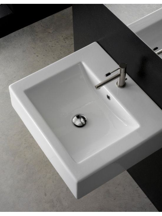 "Scarabeo - Simple White Ceramic Wall Mounted or Vessel Bathroom Sink - Square wall mounted or above counter vessel bathroom sink with overflow. This contemporary white ceramic sink comes with the option of a single faucet hole (as shown), no holes, or 3 holes. Made in Italy by Scarabeo. Sink dimensions: 23.60"" (width), 6.30"" (height), 20.10"" (depth)"