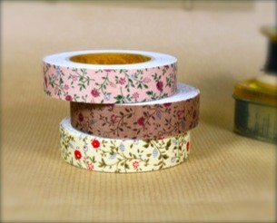 Fabric Tape, Floral eclectic desk accessories