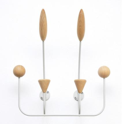 Marvin 6-Hook Coat Rack, White Frame With Oak modern-wall-hooks