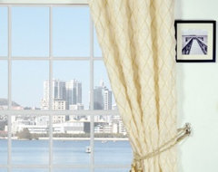 """84"""" L Cute Beige Stylish Plaid Seersucker Polyester Eyelet Curtains contemporary"""