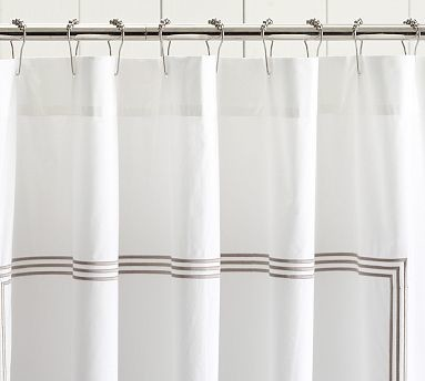 Grand Embroidered Shower Curtain, Taupe traditional-shower-curtains