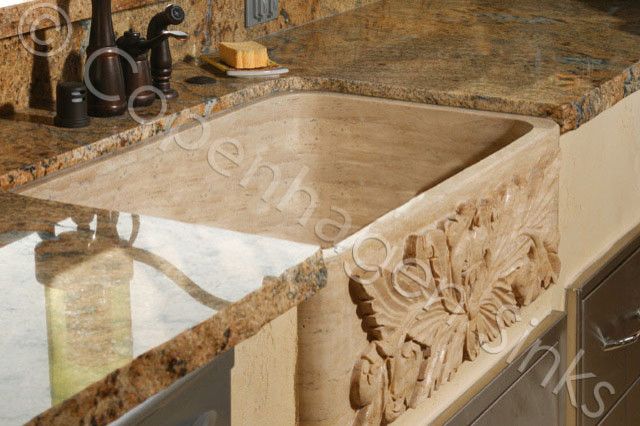 Kitchen Stone Farm Sink Beige Travertine Single Bowl Farmhouse Sink ...