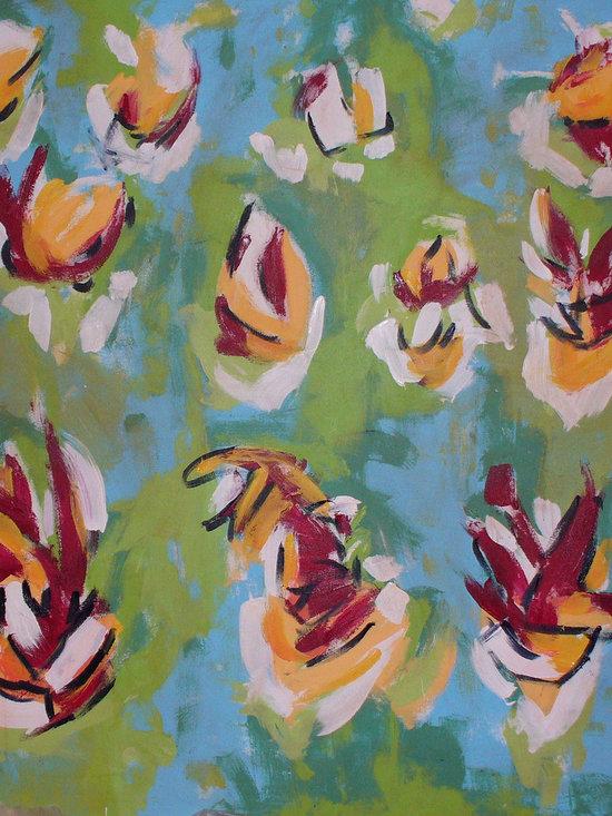 "Flower Garden (right panel) - Acrylic on canvas, 5' x 5'3"""